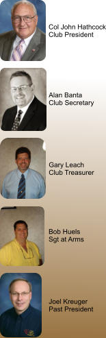 Gary Leach Club Treasurer  Bob Huels Sgt at Arms Joel Kreuger Past President Col John Hathcock Club President Alan Banta Club Secretary